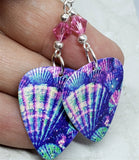 Colorful Shell Guitar Pick Earrings with Pink Swarovski Crystals