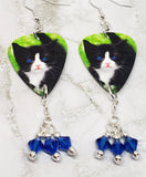 Black and White Tuxedo Kitten Guitar Pick Earrings with Blue Swarovski Crystal Dangles