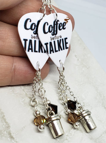 Coffee Before Talkie Guitar Pick Earrings with Coffee Cup Charm and Swarovski Crystal Dangles