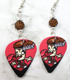 Coffee Addict Guitar Pick Earrings with Brown Pave Beads