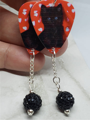 Black Cat Kitten Guitar Pick Earrings with Black Pave Bead Dangles