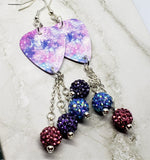 Beautiful Purple, Blue and Pink Guitar Pick Earrings with Pave Bead Dangles