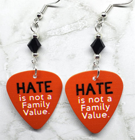 Hate is Not a Family Value Guitar Pick Earrings with Black Swarovski Crystals