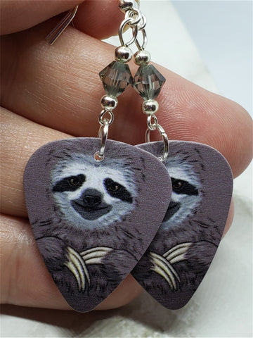 Sloth Guitar Pick Earrings with Gray Swarovski Crystals