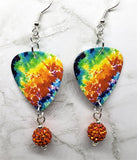 Colorful Tie Dye Guitar Pick Earrings with Orange Pave Bead Dangles