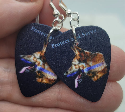 Protect and Serve German Sheperd with Blue Line Police Support Guitar Pick Earrings