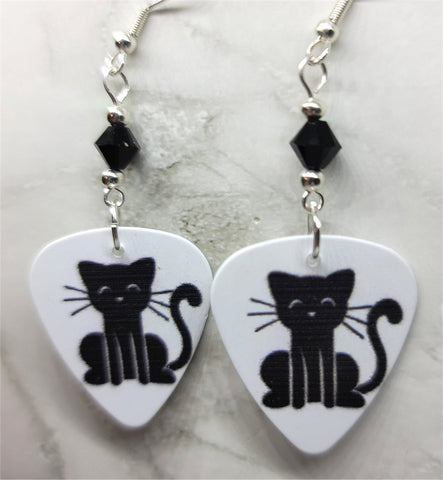 Black Cat Guitar Pick Earrings with Black Swarovski Crystals