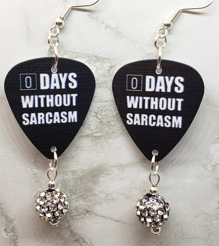 0 Days Without Sarcasm Guitar Pick Earrings with White and Black Pave Bead Dangles