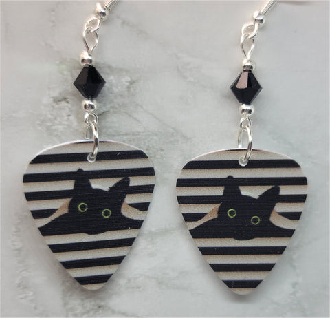 Black Cat in the Blinds Guitar Pick Earrings with Black Swarovski Crystals