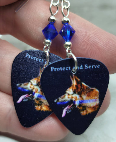 Protect and Serve German Sheperd with Blue Line Police Support Guitar Pick Earrings with Blue Swarovski Crystals