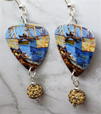 Van Gogh The Langlois Bridge at Arles with Women Washing Guitar Pick Earrings with Tan Pave Bead Dangle
