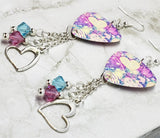 Colorful Heart Pattern Guitar Pick Earrings with Heart Charms and Swarovski Crystal Dangles