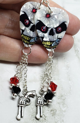 Skull with Bullet Hole Guitar Pick Earrings with Gun Charm and Swarovski Crystal Dangles