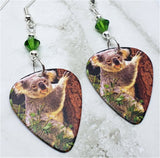 Koala Bear Clinging to a Tree Guitar Pick Earrings with Green Swarovski Crystals