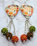 Give Thanks Autumnal Scene Guitar Pick Earrings with Pave Bead Dangles