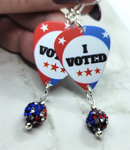 I Voted Guitar Pick Earrings with American Flag Pave Bead Dangles