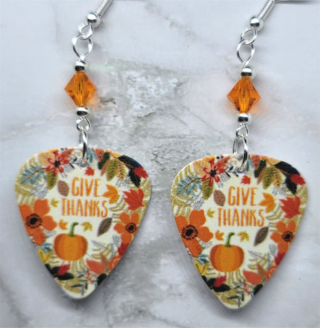 Give Thanks Autumnal Scene Guitar Pick Earrings with Orange Swarovski Crystals