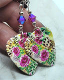 Leopard and Flower Printed Guitar Pick Earrings with Fuchsia ABx2 Swarovski Crystals