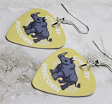 Chubby Unicorn Rhinoceros Guitar Pick Earrings