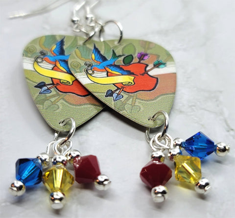 Old School Tattoo Style Sparrow and Apple Guitar Pick Earrings with Swarovski Crystal Dangles
