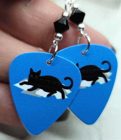 Black Cat on Paper Stack Guitar Pick Earrings with Black Swarovski Crystals