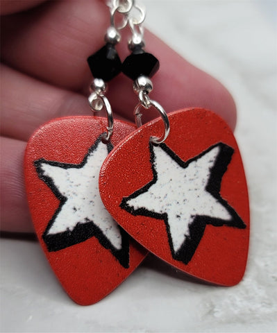 White Star on Burnt Red Guitar Pick Earrings with Black Swarovski Crystals