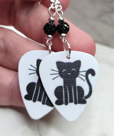 Black Cat Guitar Pick Earrings with Black Pave Beads