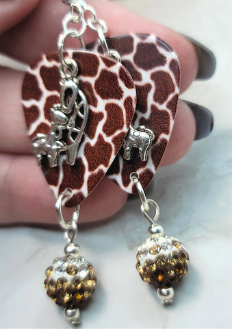 Mother and Baby Giraffe Charm on Giraffe Patterned Guitar Pick Earrings with Brown Ombre Pave Bead Dangles
