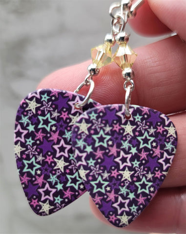Multiple Stars on a Purple Guitar Pick Earrings with Pale Yellow Swarovski Crystals