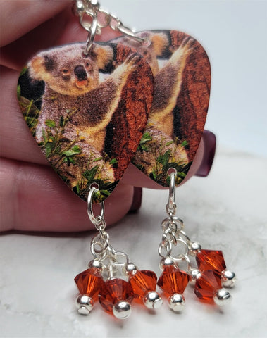 Climbing Koala Bear Guitar Pick Earrings with Indian Red Swarovski Crystal Dangles