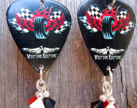 Vulture Kulture Checkered Flag with Wings and a Tire Guitar Pick Earrings with Crystal Dangles