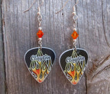 Hot Rod Flames Guitar Pick Earrings with Fire Opal Swarovski Crystals