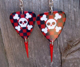 Skull and Crossbones with Checkered Guitar Pick Earrings and Red Spike Dangles