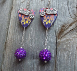 Motorcycle and Hot Rod Flames Guitar Pick Earrings with Purple Rhinestone Dangles