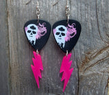 Pink Winged Skull Guitar Pick Earrings with Pink Lightning Dangles