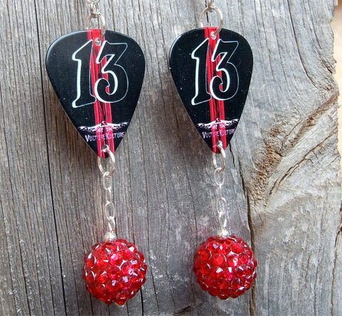 Red and Black Number 13 Guitar Pick Earrings with Red Rhinestone Dangles