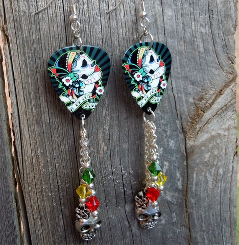 Sugar Skull with Flowered Head Piece Guitar Pick Earrings with a Silver Charm and Swarovski Crystal Dangles