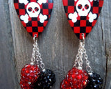 Black and Red Checkered Skull Guitar Pick Earrings with Red and Black Rhinestone Beads