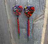 Tattoo Johnny Old School Tattoo Style Snake Guitar Pick Earrings with Chain