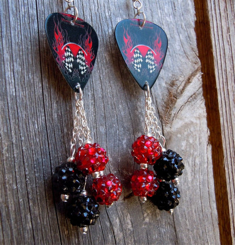 Vulture Kulture Red and Black Guitar Pick Earrings with Checkered Flag and Flames