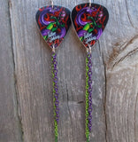 Tattoo Johnny Tattoo Style Purple and Green Snake Guitar Pick Earrings with Chain