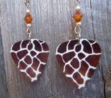 Giraffe Patterned Guitar Pick Earrings with Amber Swarovski Crystals