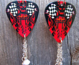 Vulture Kulture Checkered Flag and Flames Guitar Pick Earrings with Crystal Dangles