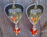 Hot Rod Flames Guitar Pick Earrings with Fire Opal Swarovski Crysal Dangles