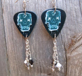 Zombie Guitar Pick Earrings with Swarovski Crystal Dangles