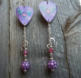 Winged and Horned Heart Guitar Pick Earrings with Rhinestone, Crystal and Heart Charm Dangles