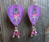 Wild Heart Guitar Pick Earrings with Rose Crystal Dangles