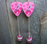 Cherries and Hearts Guitar Pick Earrings with Striped Rhinestone Dangle