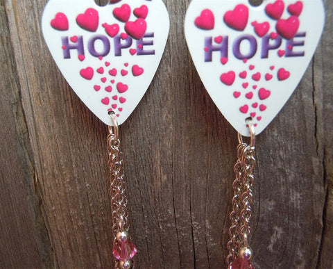 Hope and Hearts Pink Ribbon Guitar Pick Earrings with Pink Rhinestone and Charm Dangles