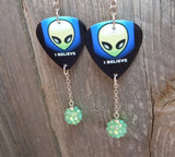 I Believe Alien Guitar Pick Earrings with Green Rhinestone Dangles